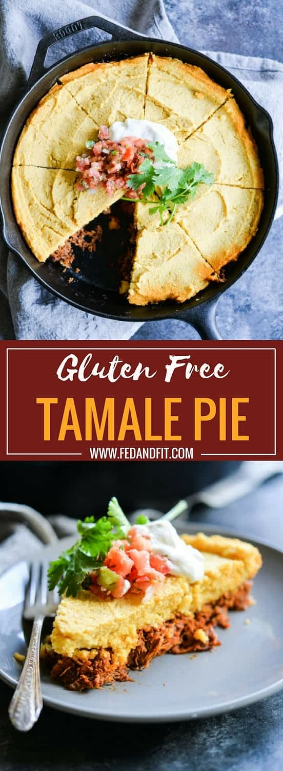 This easy tamale pie is made with a traditional pork filling and masa topping. It is the perfect flavorful casserole alternative to spending hours making traditional tamales!