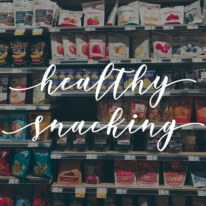 """the healthy snack aisle in Whole Foods with text overlay """"healthy snacking"""""""