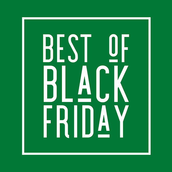 """green square image with """"best of Black Friday"""" text in a white box outline"""