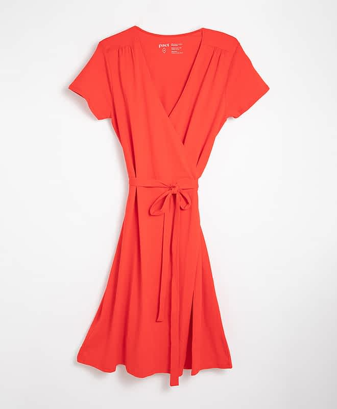 sustainable fashion - red wrap dress