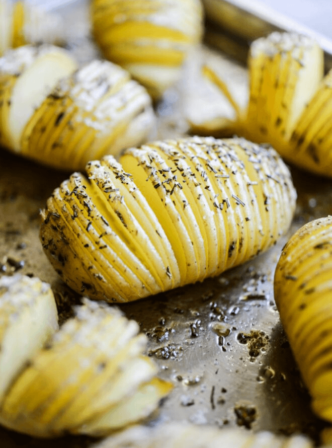 rosemary sea salt hasselback potatoes