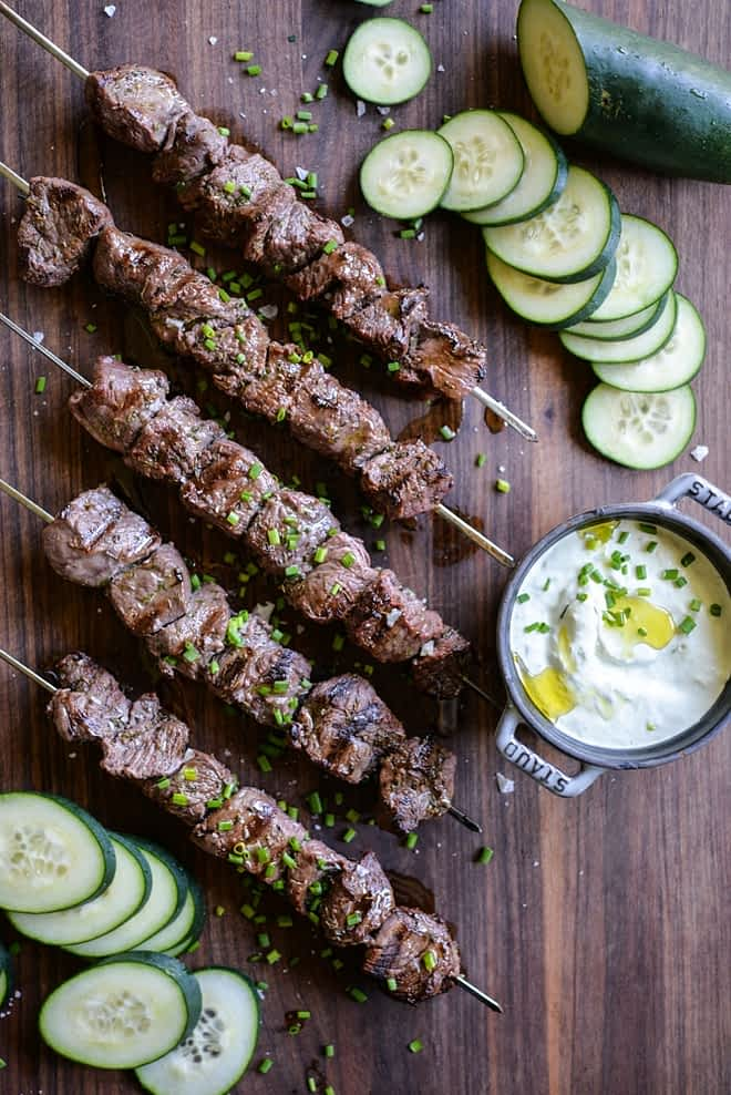 greek beef kabobs and homemade tzatziki