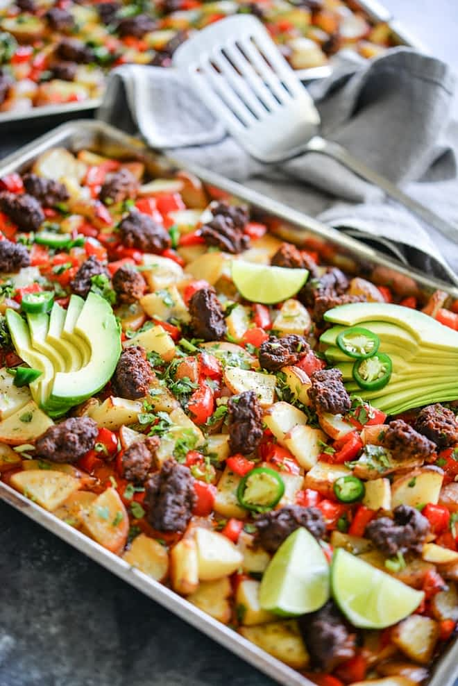 Potato chorizo sheet pan breakfast