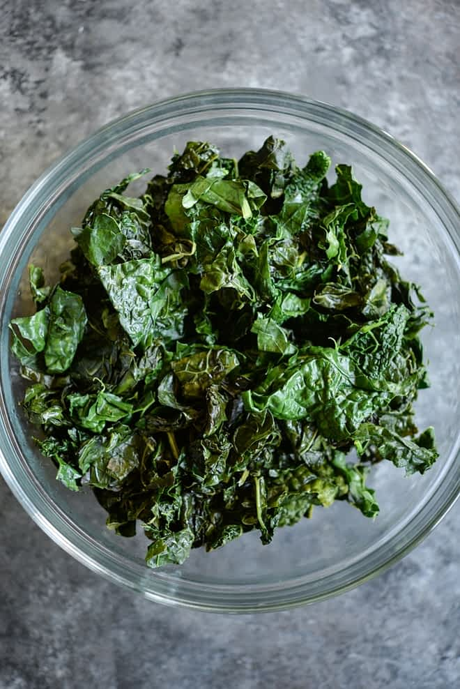 Sauteed kale in a bowl for meal prep