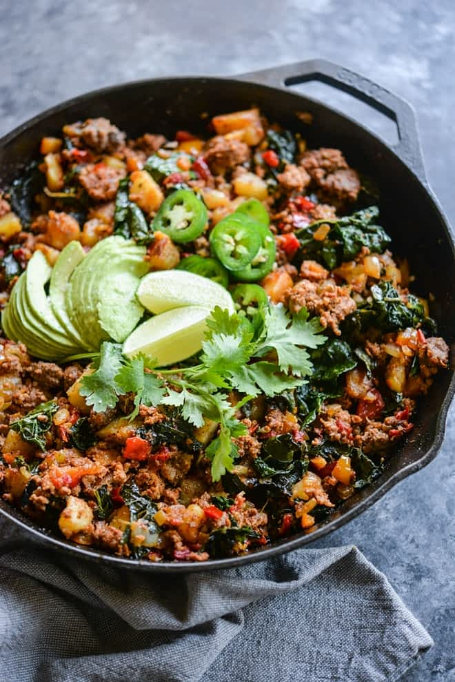 healthy meal prep taco breakfast hash in a skillet