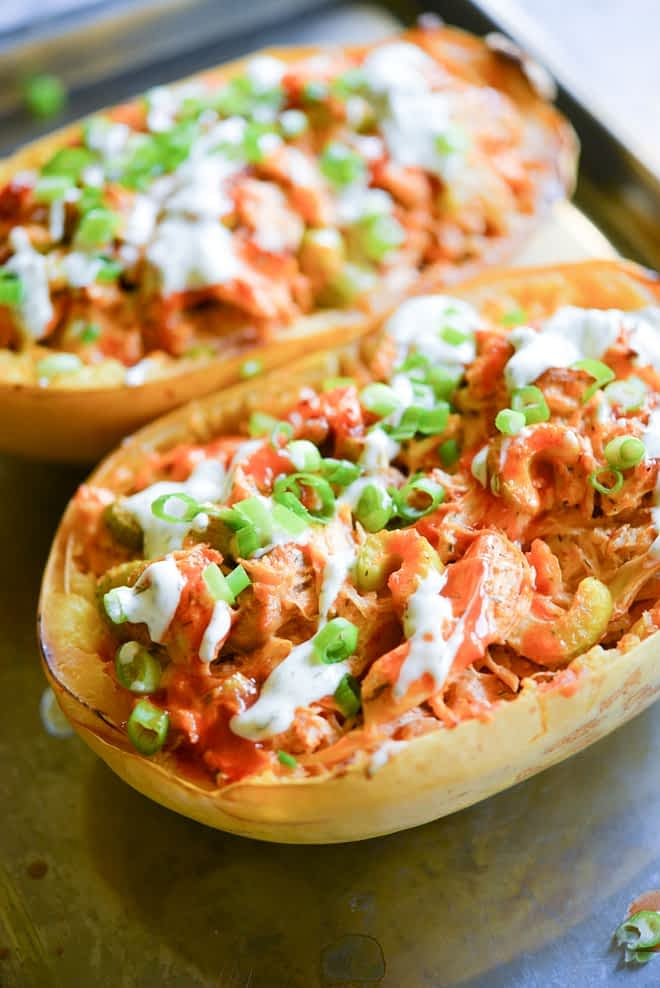 Buffalo Chicken Spaghetti Squash Boats