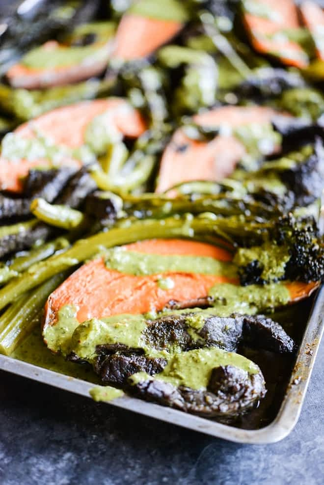 chimichurri beef sheet pan dinner with beef, sweet potatoes, and broccolini