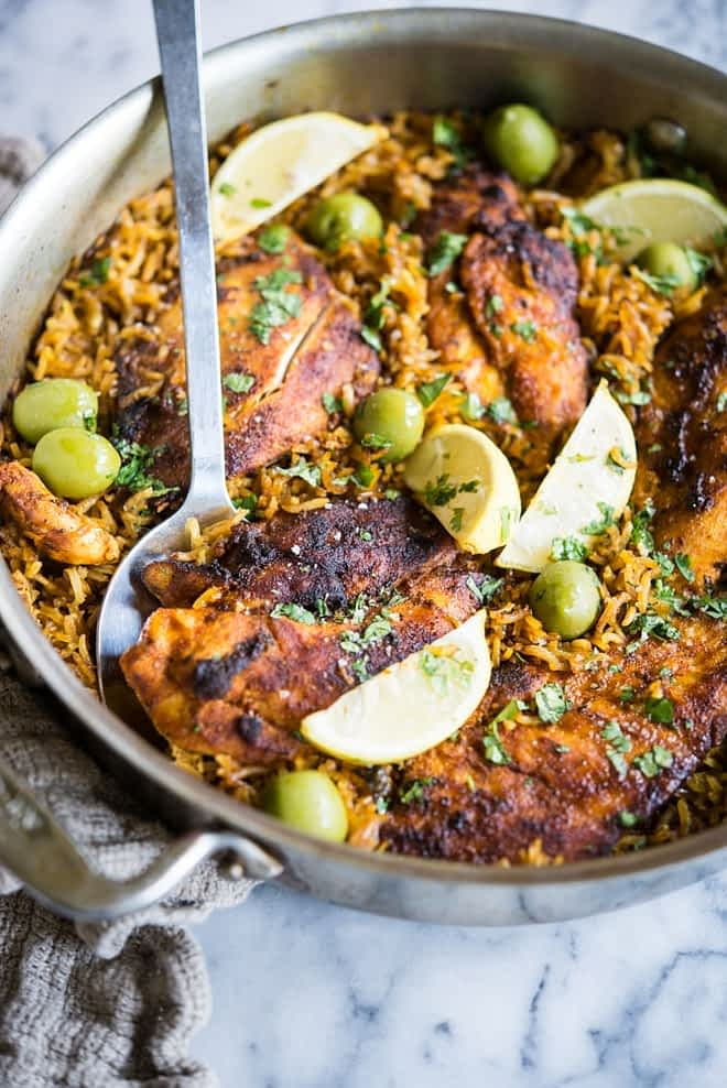 moroccan chicken and rice skillet