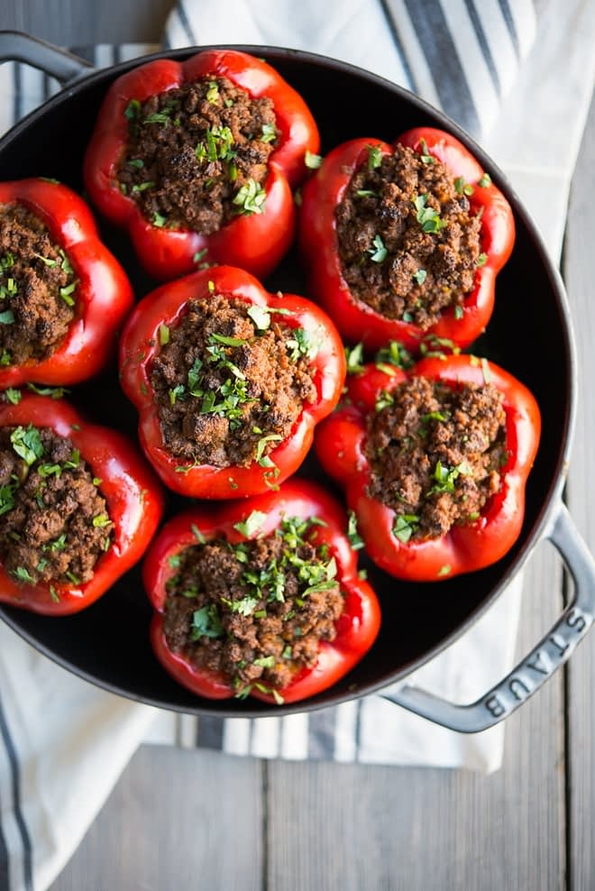 overhead view of Curried Beef & Butternut Squash Stuffed Peppers in a skillet