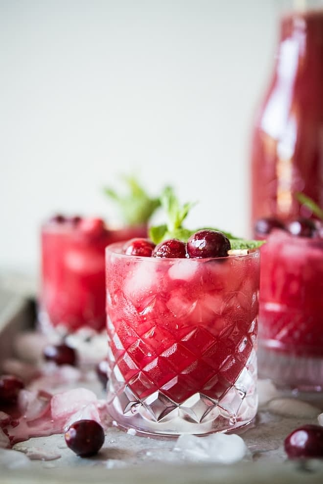 glasses of Cranberry Agua Fresca