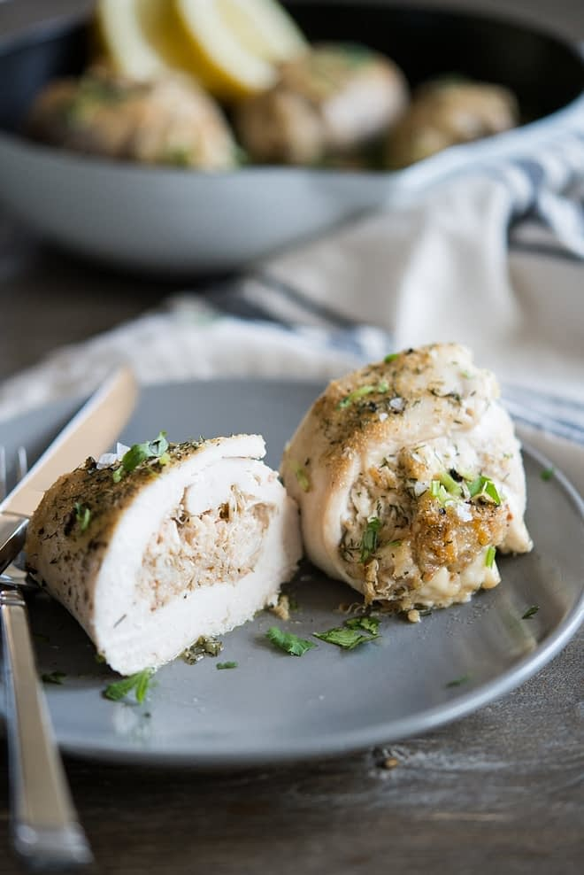 Crab Stuffed Chicken Breast on a gray plate
