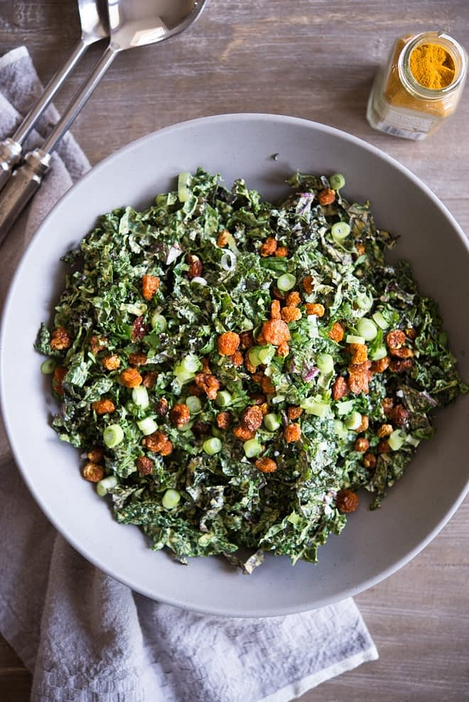overhead view of bowl of Curried Kale Salad Fed