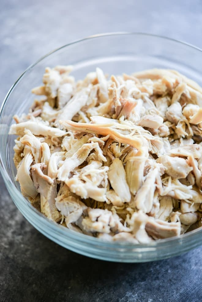 meal prep shredded chicken in a bowl