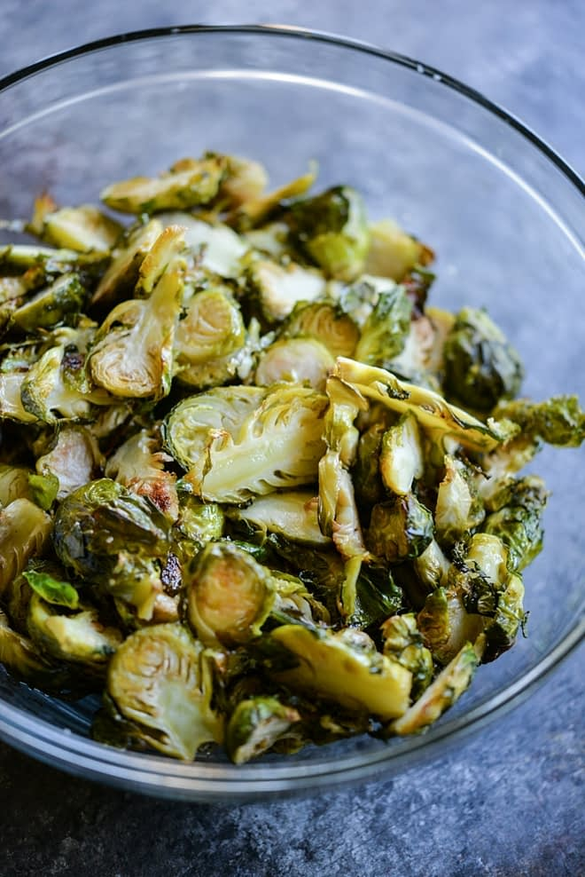 meal prep brussels sprouts in a glass bowl