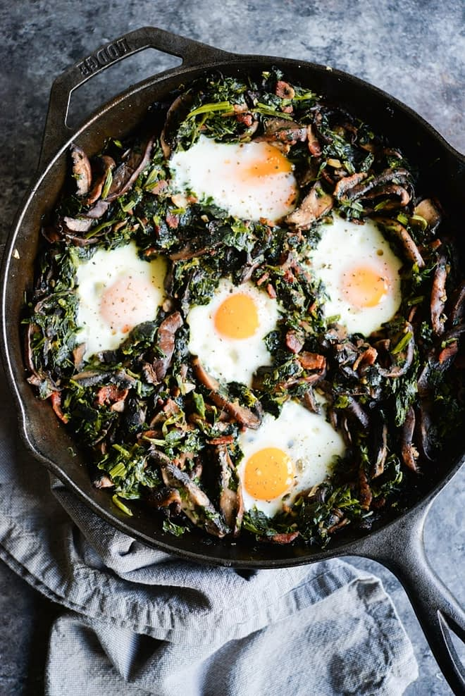 Portabella and Spinach Breakfast Hash