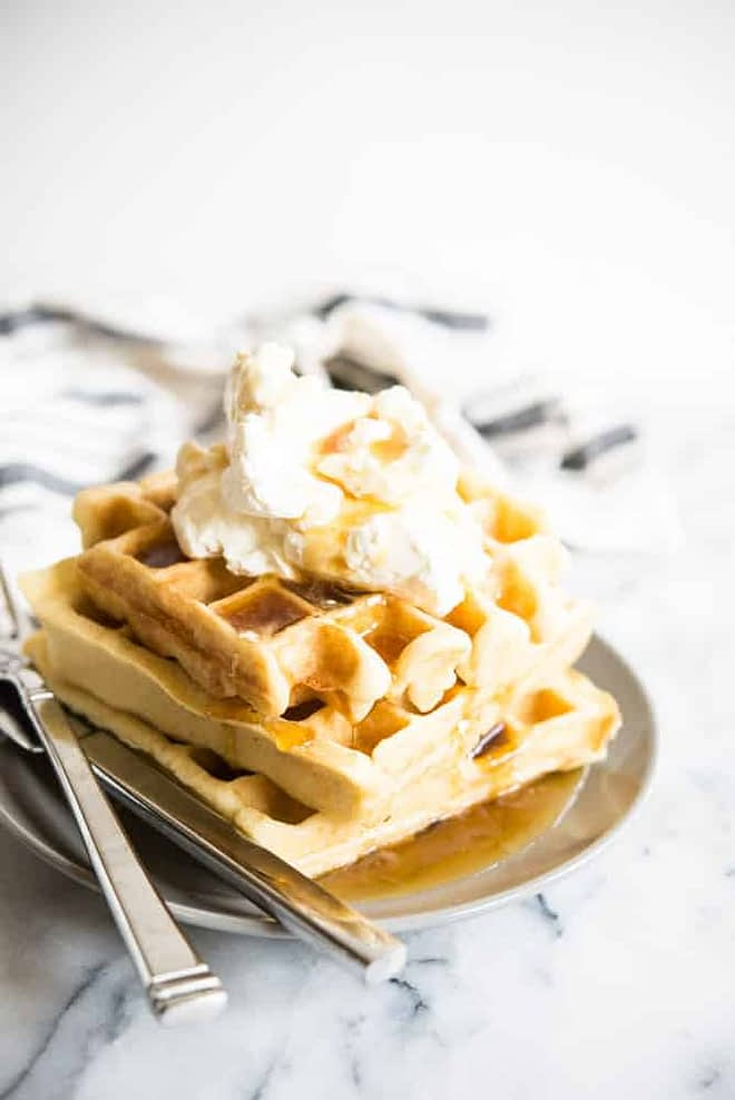 gluten free overnight waffles with whipped cream