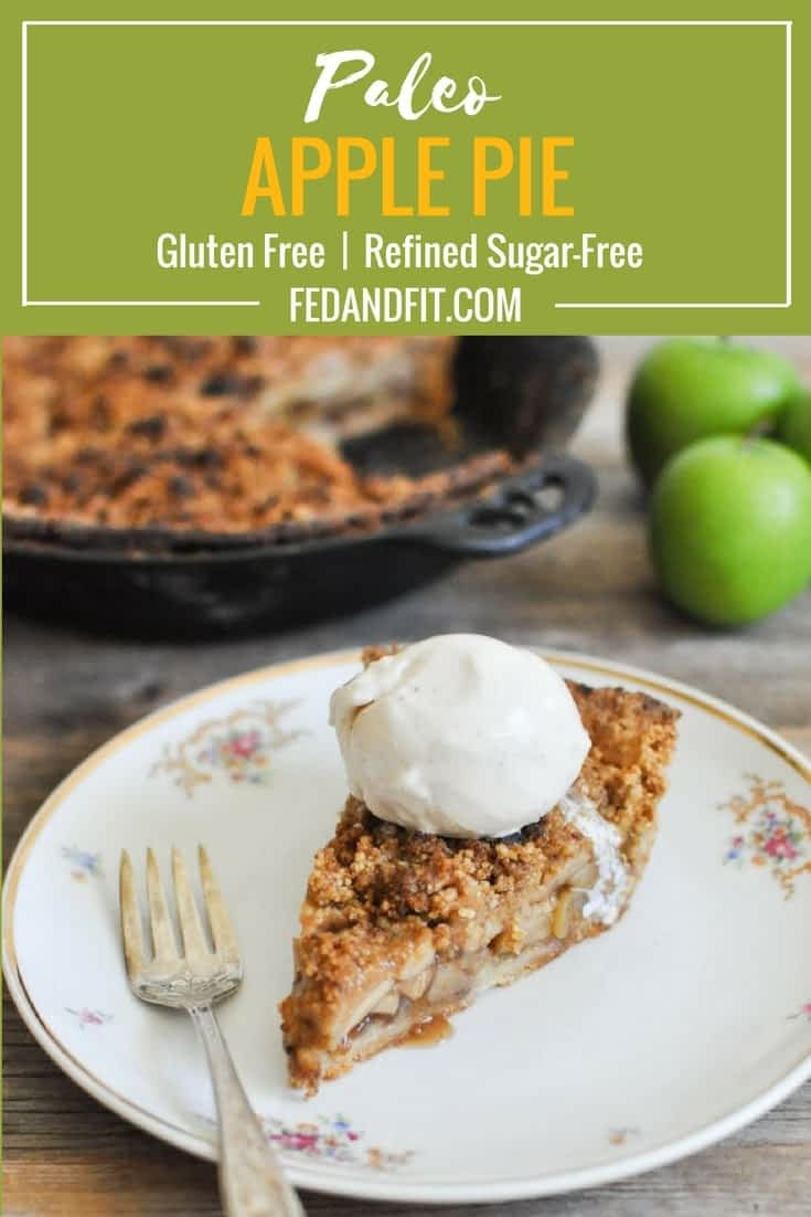 This Paleo apple pie is the REAL DEAL! The perfect, buttery grain-free pie crust comes together with a blend of almond flour, coconut flour, and arrowroot starch, then is filled with apples and finished with a simple crumble topping and coconut whipped cream for the perfect holiday dessert.