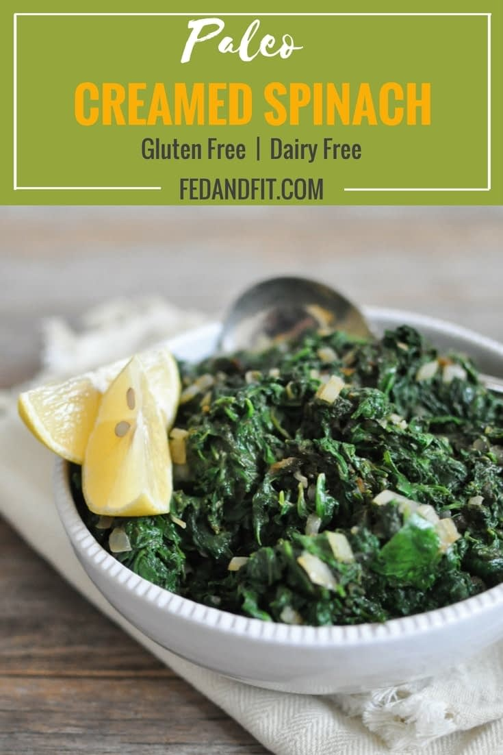 This Paleo Creamed Spinach will satisfy your cravings with a creamy coconut milk base, tangy lemon juice, and caramelized onions for the perfect holiday (or any day) side dish minus the gluten and dairy!