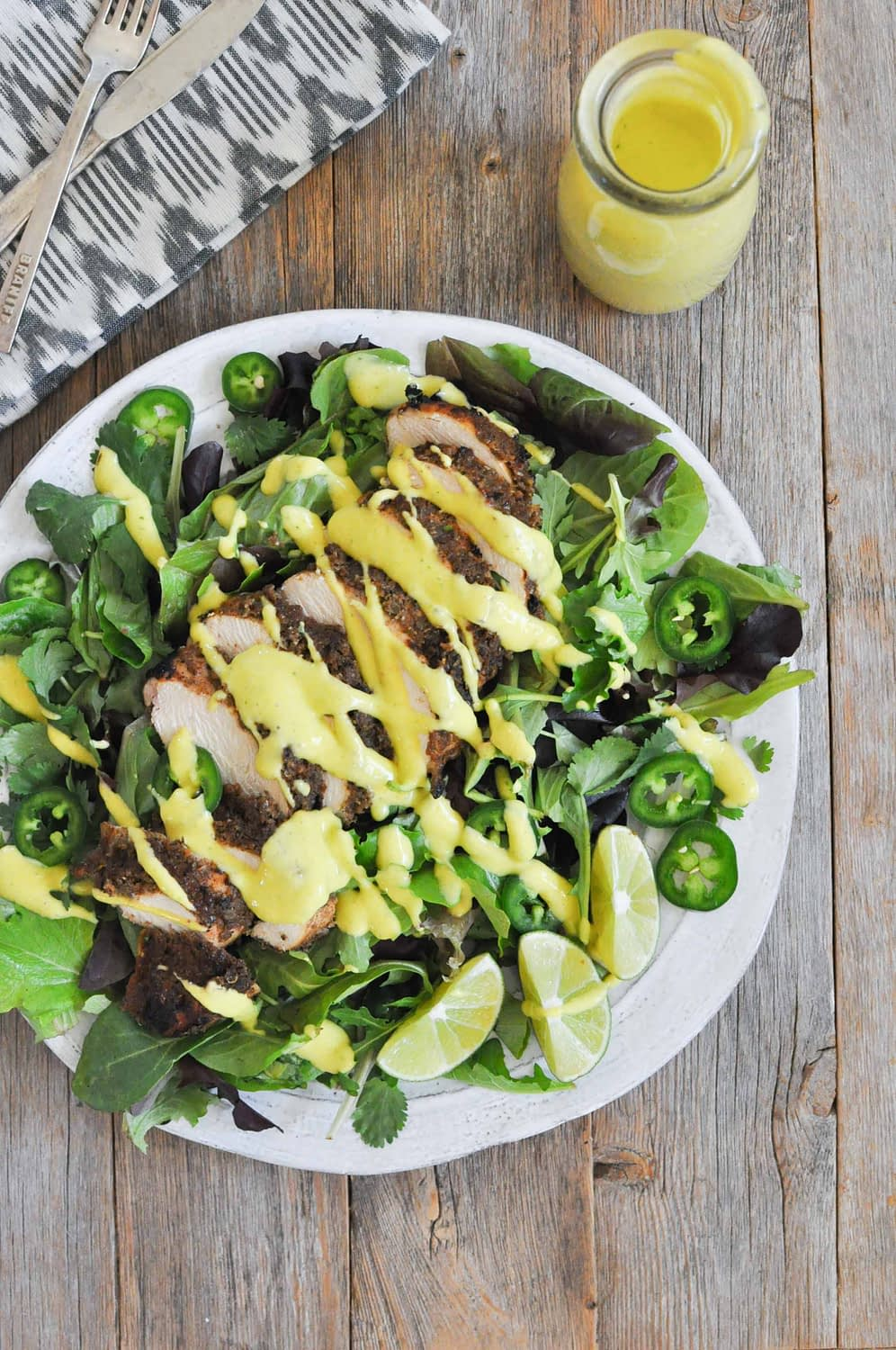 Creamy Mango Jalapeno Dressing over a chicken salad
