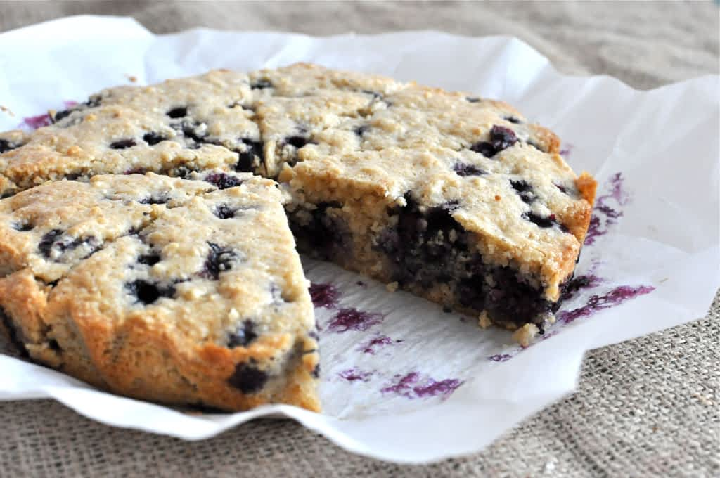 Paleo blueberry scones on parchment paper